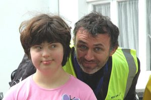 Tommy Tiernan and friend at Rev-up4DSI '07. Photo Gerry Casey.